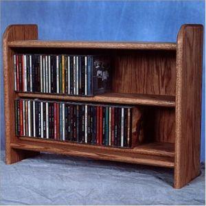 Oak 2 Shelf Cd Cabinet