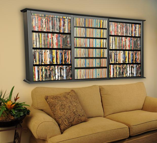 Wall mounted cabinet triple venture horizon In wall dvd storage