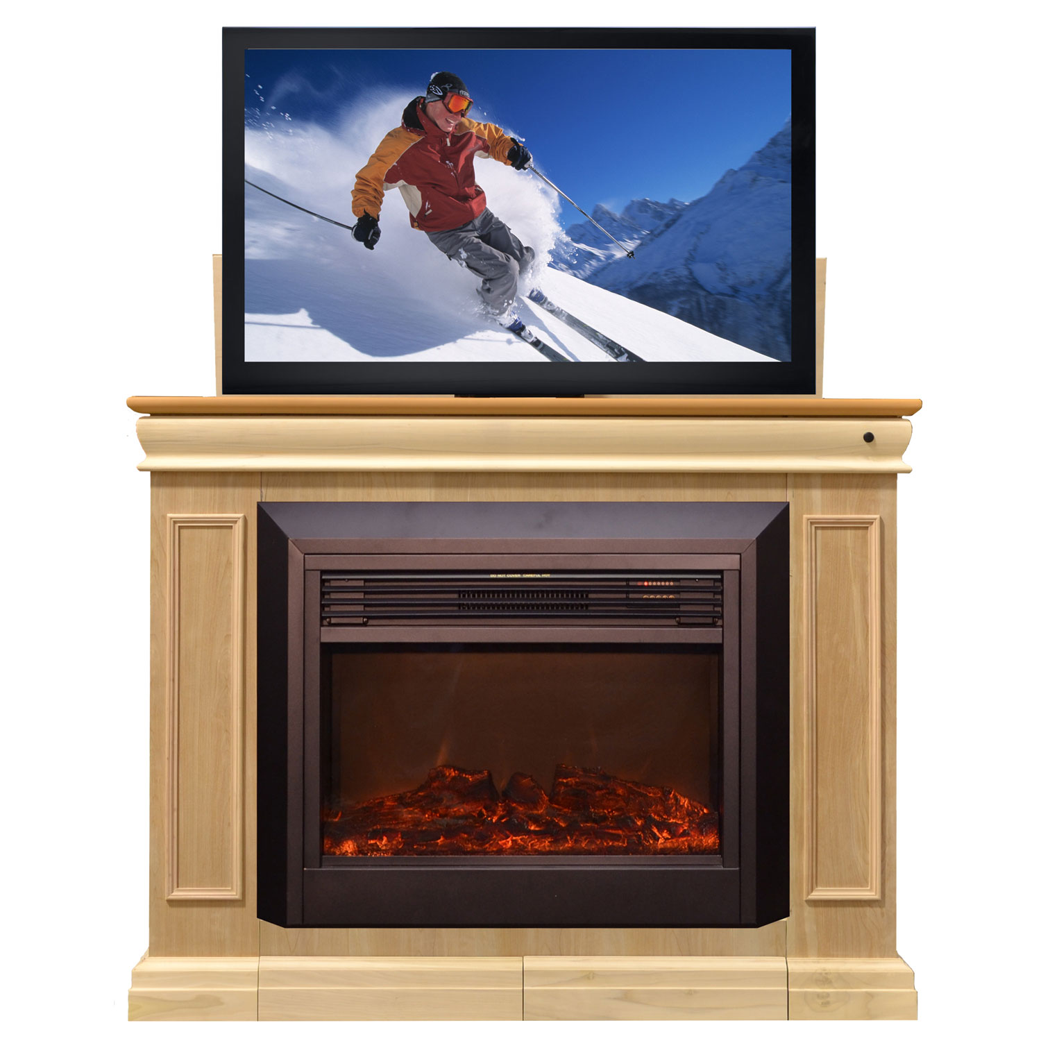 conestoga electric fireplace tv lift cabinet off