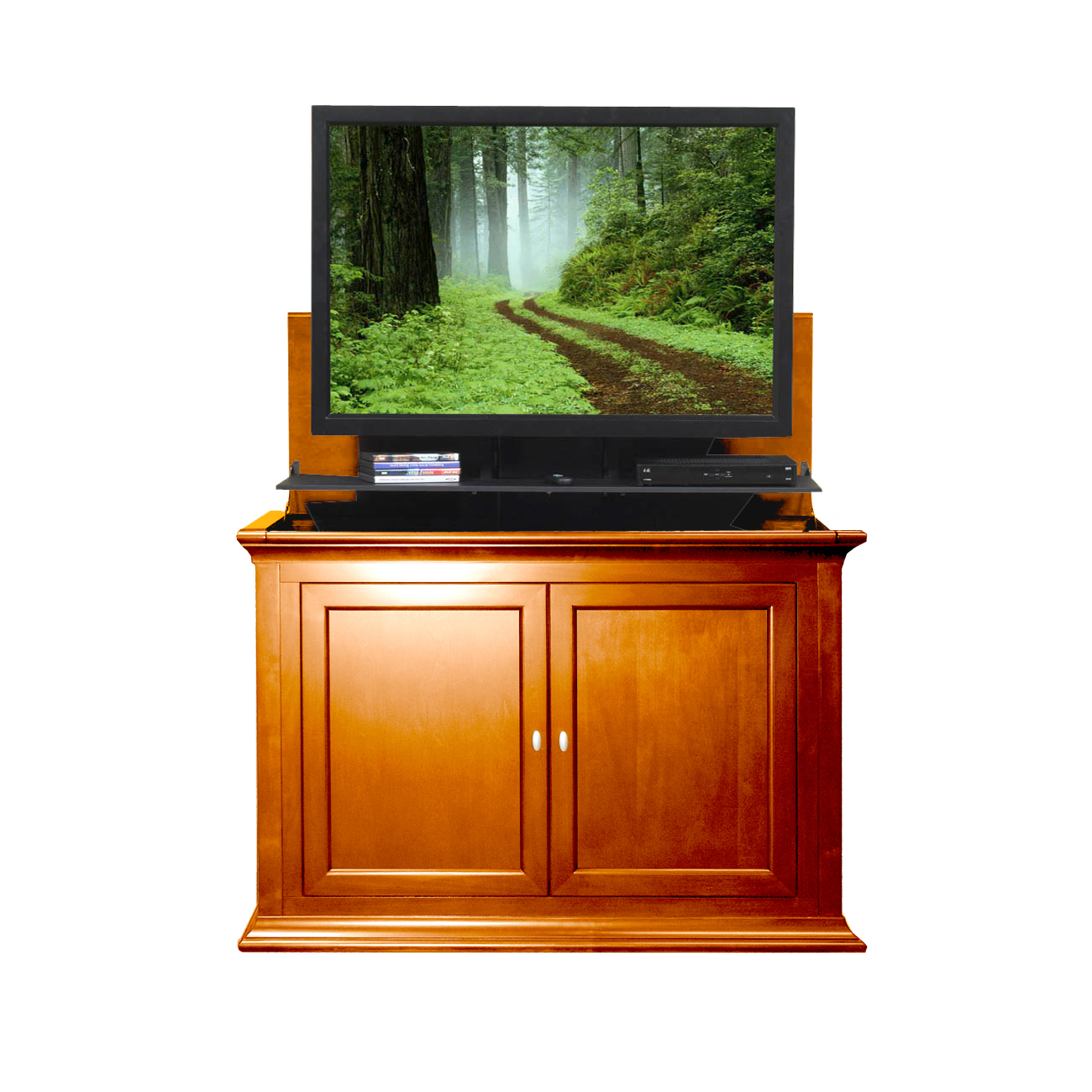 conestoga electric fireplace tv lift cabinet unfinished