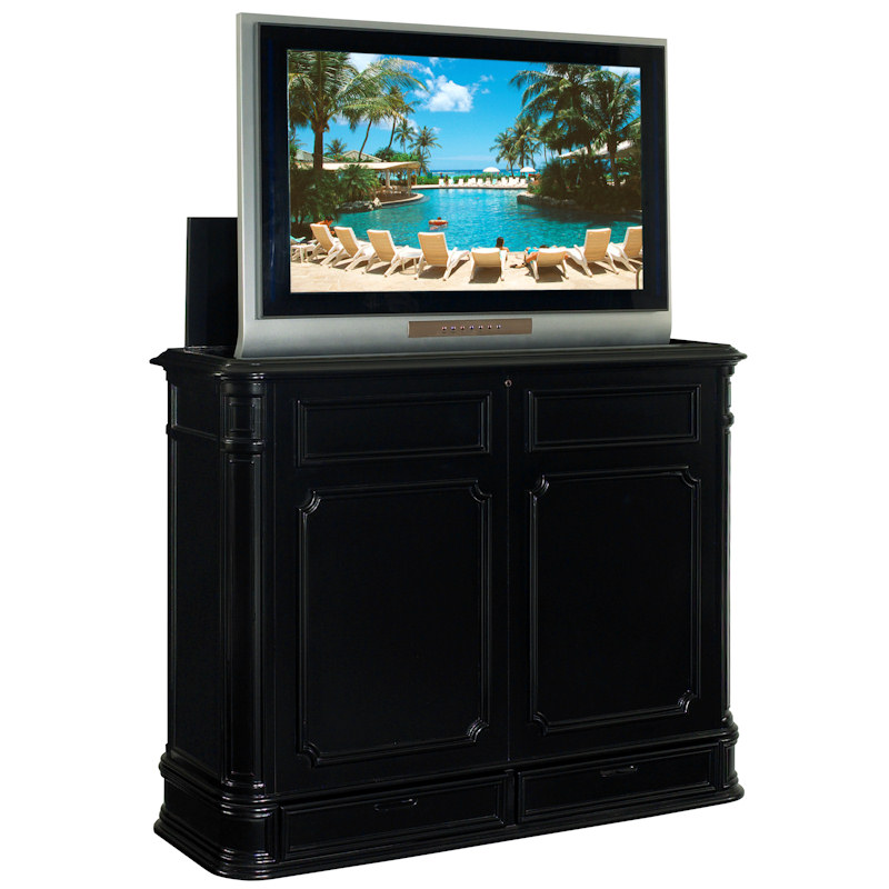 crystal pointe white tv lift cabinet. Black Bedroom Furniture Sets. Home Design Ideas