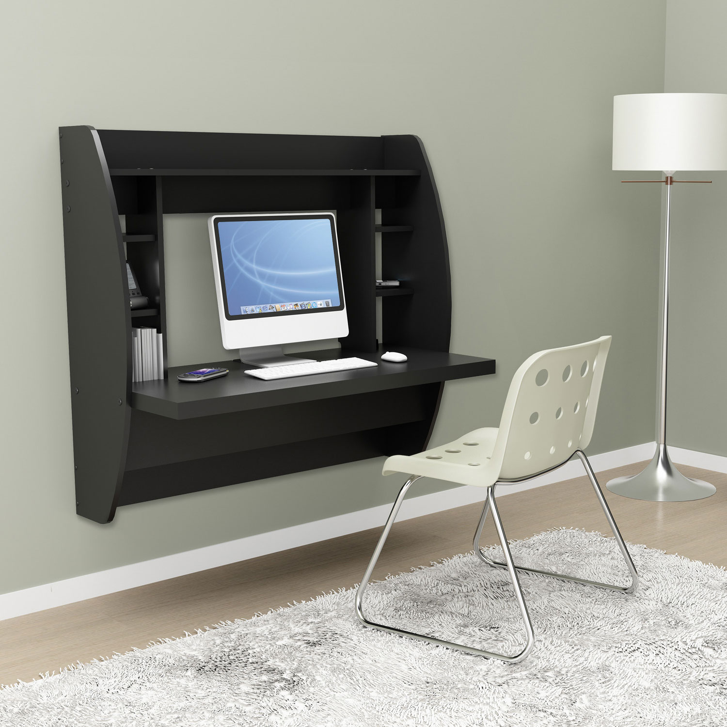 Black floating desk with storage - Computer desk small space ...