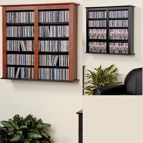 Cherry black double wall mounted storage In wall dvd storage