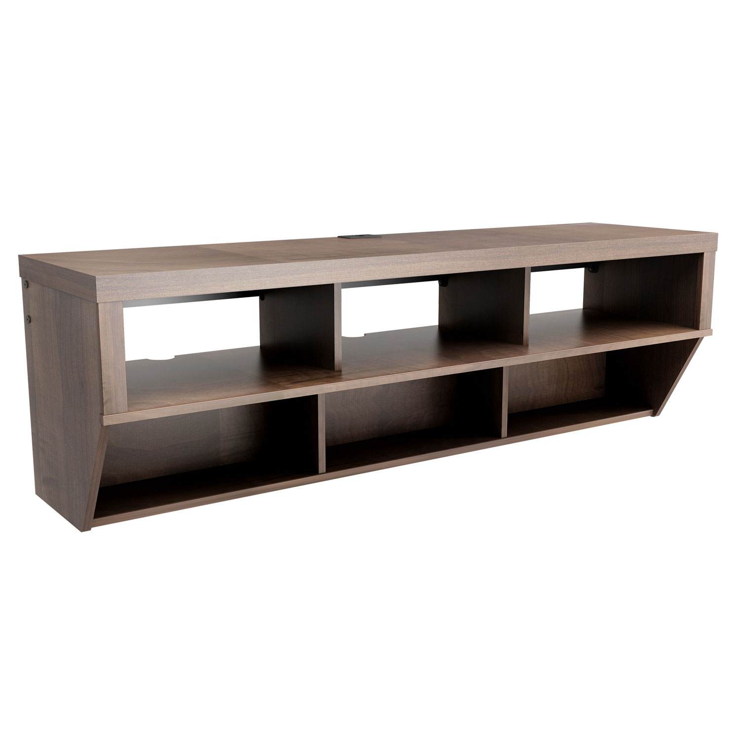 Espresso 58 Inch Wide Wall Mounted Entertainment Console