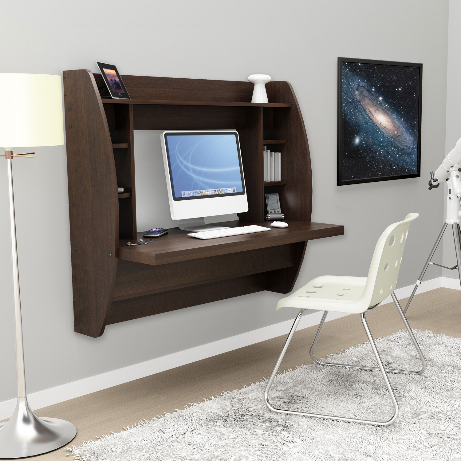 Espresso floating desk with storage for Floating desk for sale