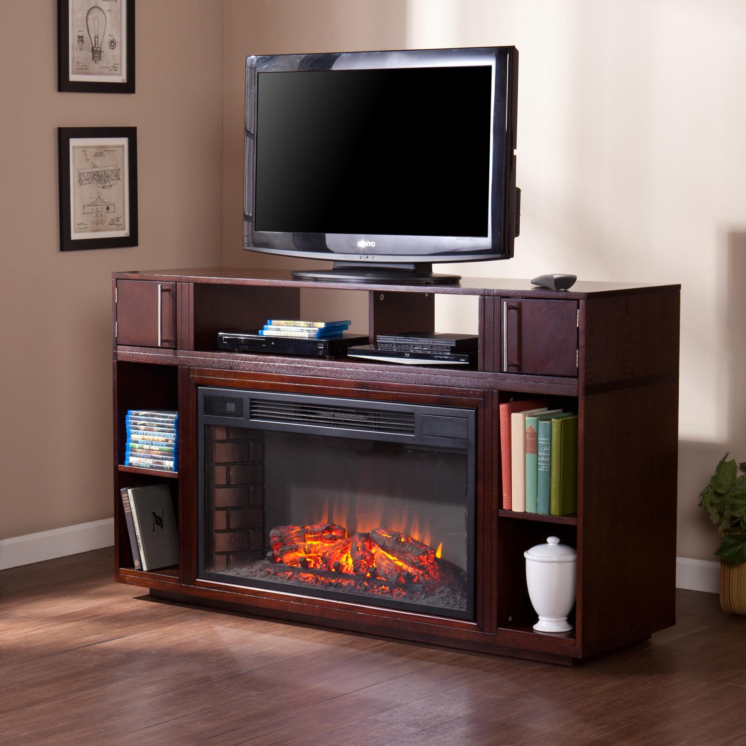 burnished corinth media walnut rm entertainment corner center fireplace and electric wall