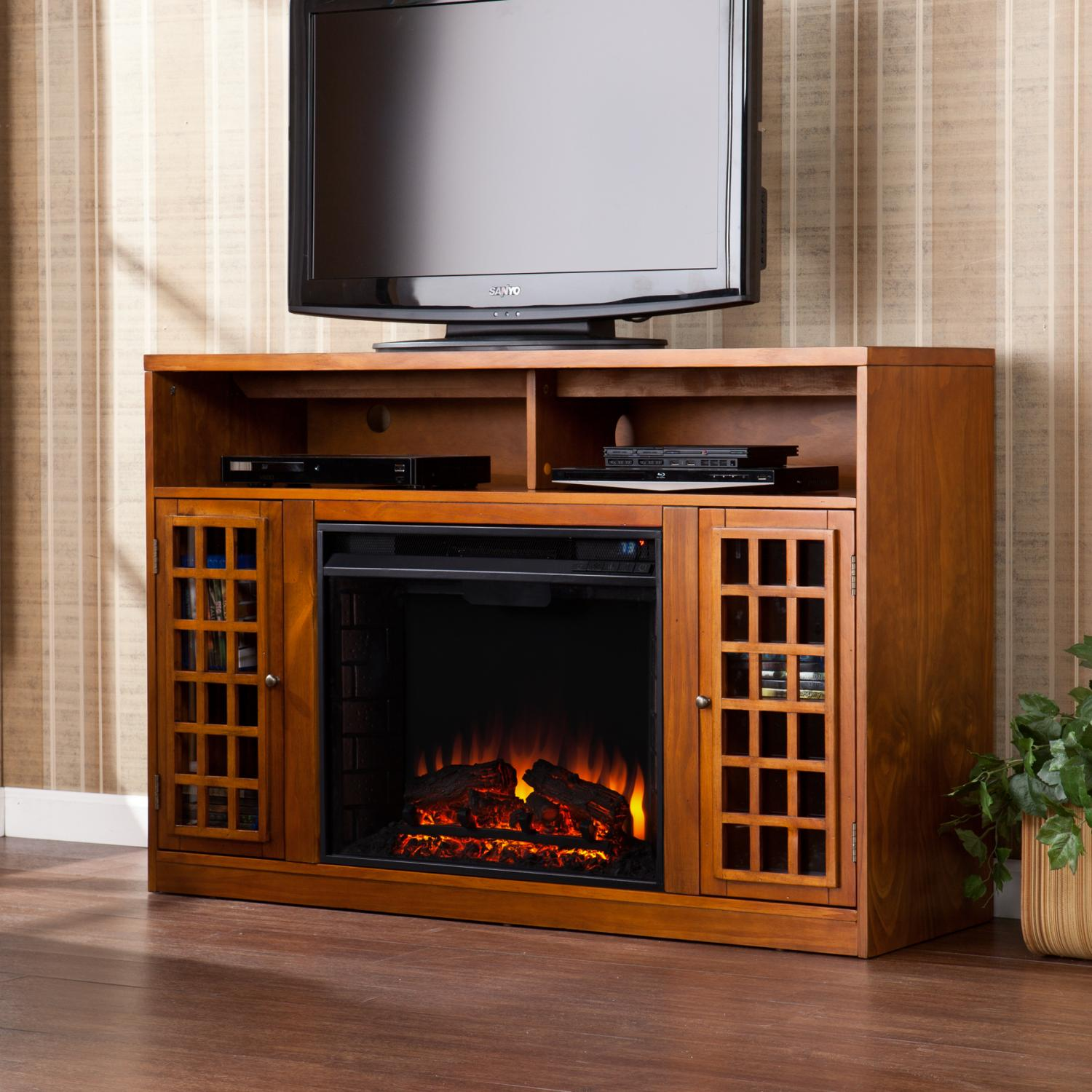 console cherry inspiration whalen and amazing style kiva brown fireplace media electric of trends picture