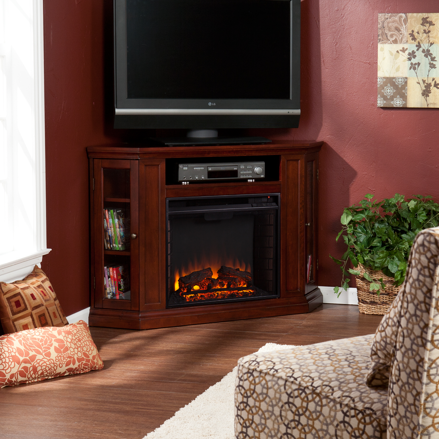 Claremont Convertible Media Electric Fireplace Cherry