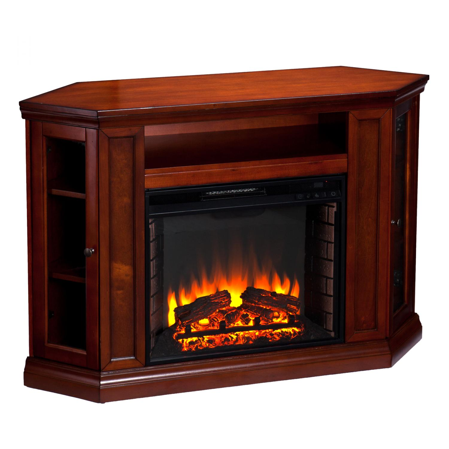 Claremont Convertible Media Electric Fireplace Brown Maho
