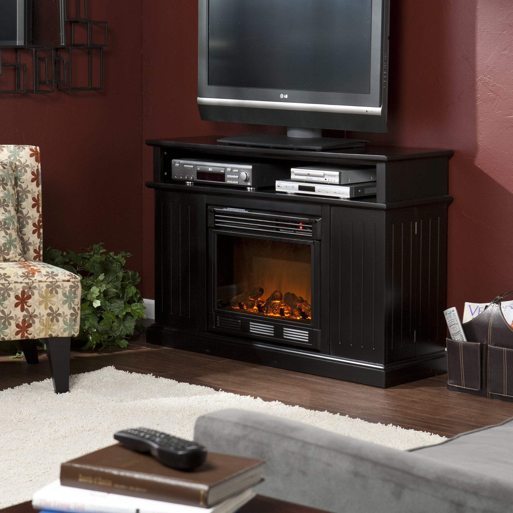 corner entertainment corinth and vintage electric cherry modern regard with fireplace center to wall