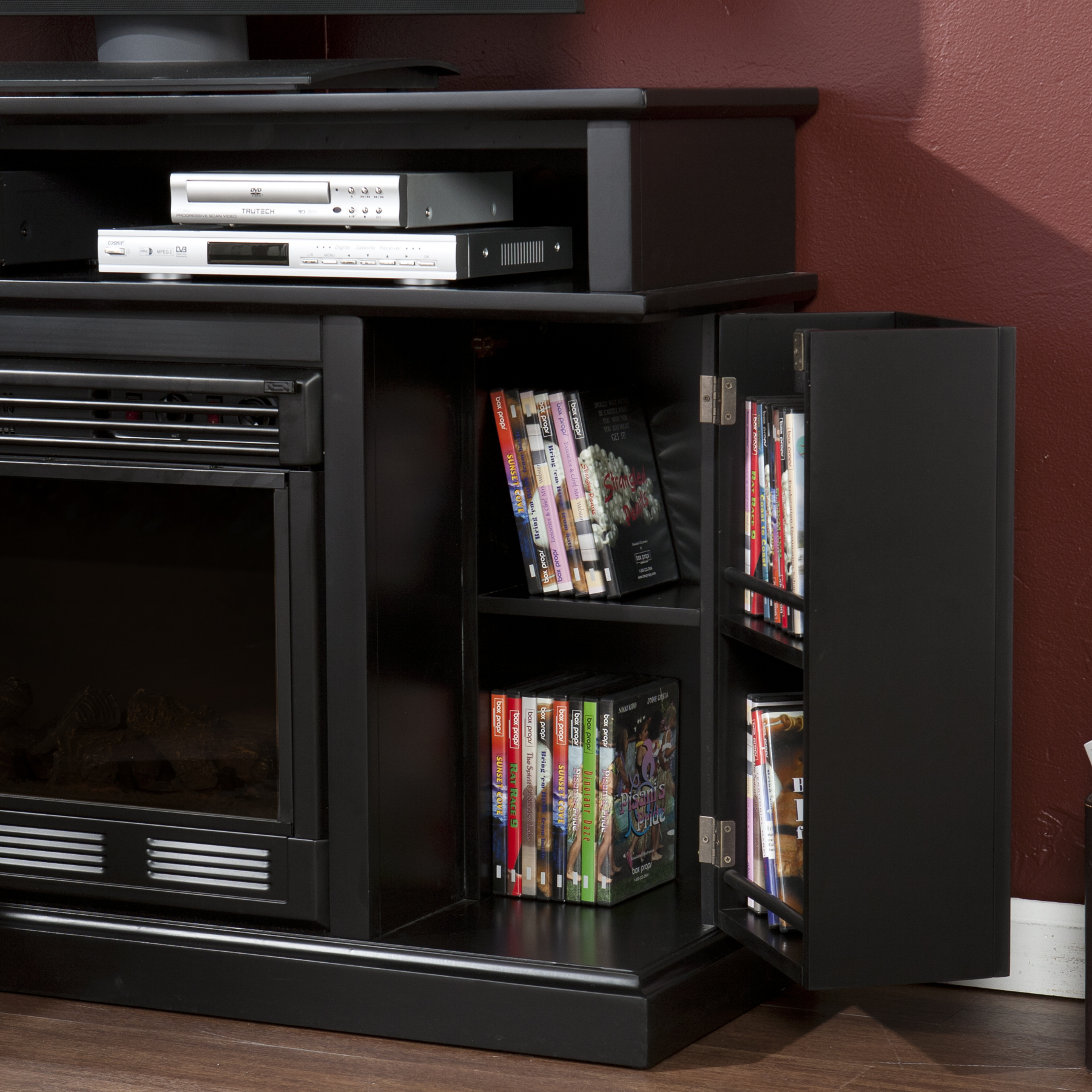 Electric Media Fireplace Black Fireplaces