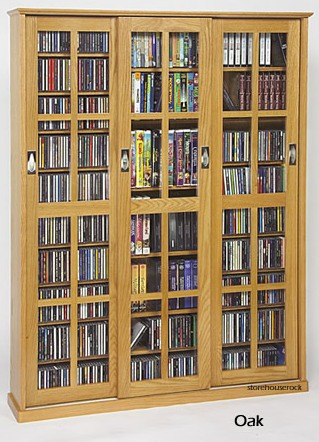 & Glass Sliding 3-Door Mission Media Cabinet With Hardwood Veneer