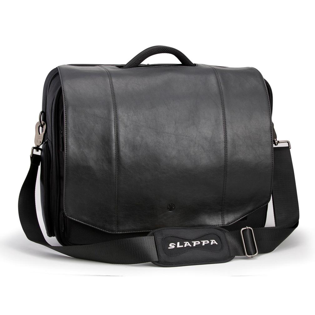 41253fc3050b Ricco Executive Black faux Leather 18-Inch Laptop Shoulder Bag. Loading zoom