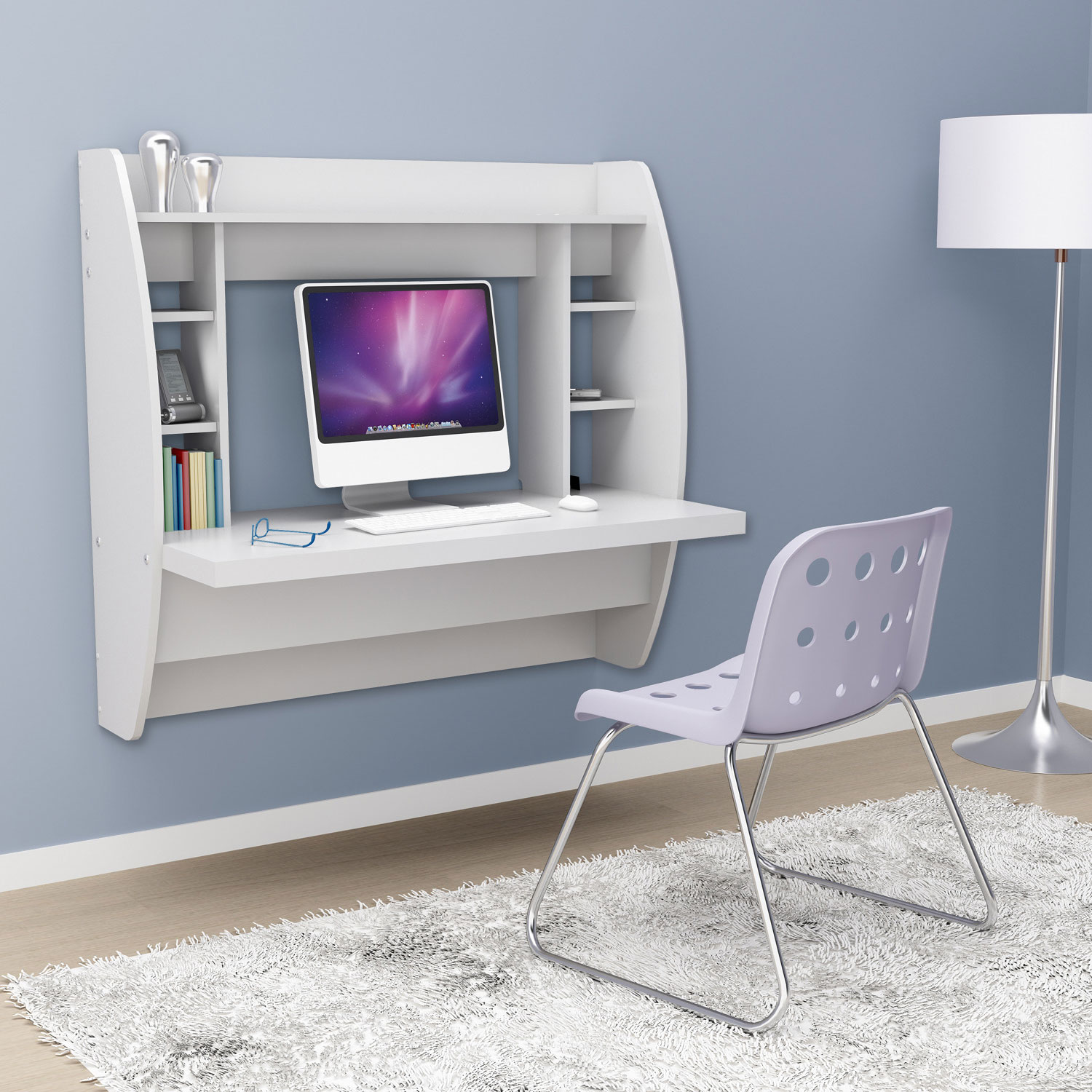 White Floating Desk With Storage 160 80