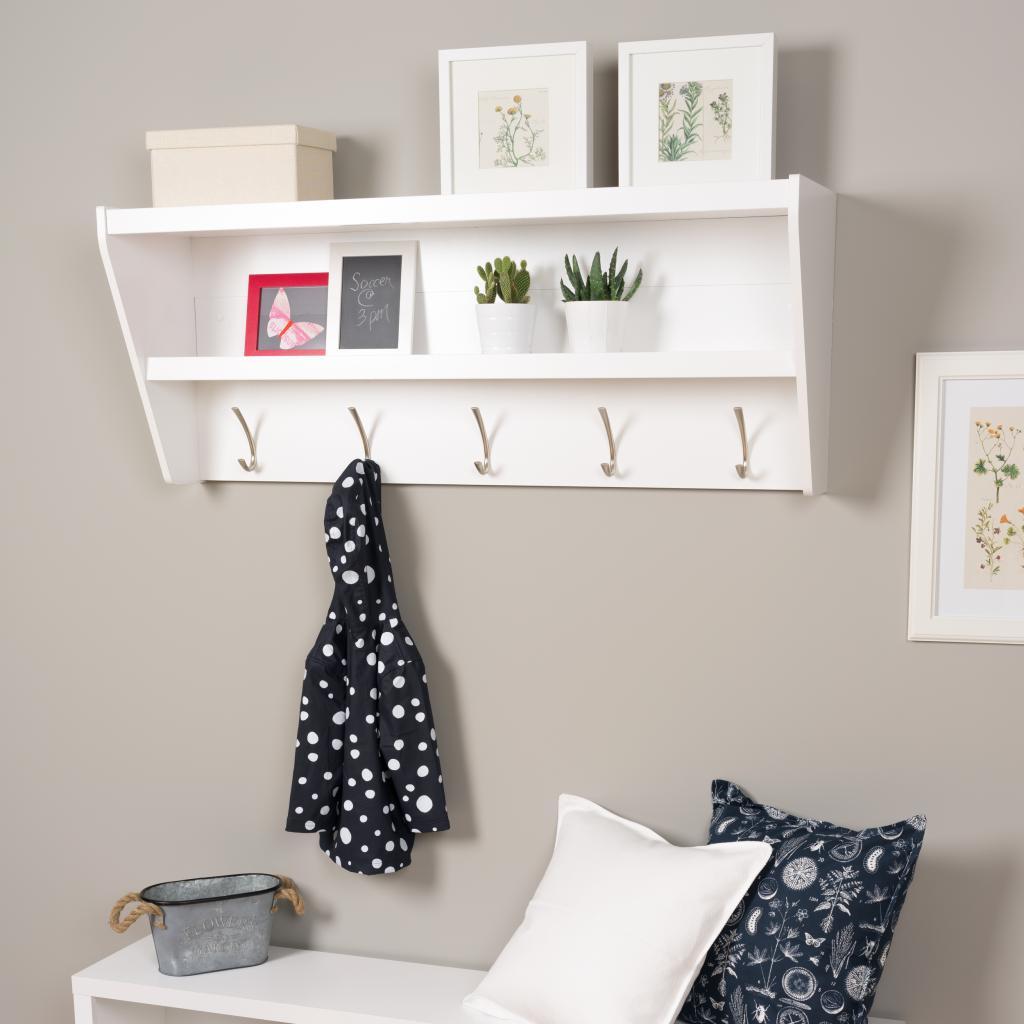 Floating Entryway Shelf Amp Coat Rack In White
