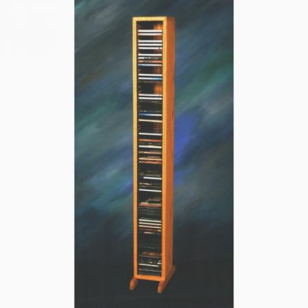Solid Oak Tower for CD's (Individual Locking Slots)