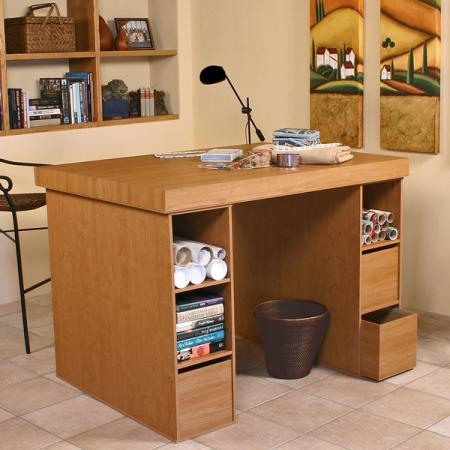 Project Center With 3 Bin Cabinets oak