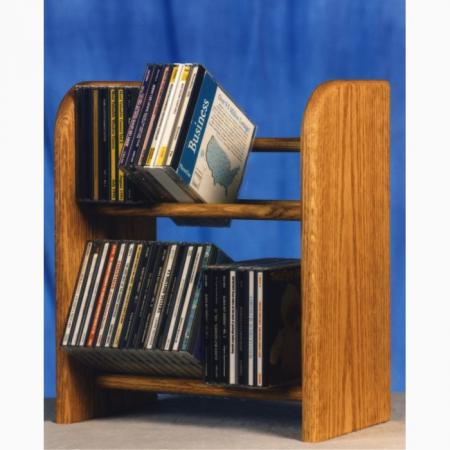 Solid Oak 2 Row Dowel Cd Rack