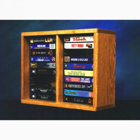 Solid Oak desktop or shelf DVD Cabinet (Individual Locking Slots)