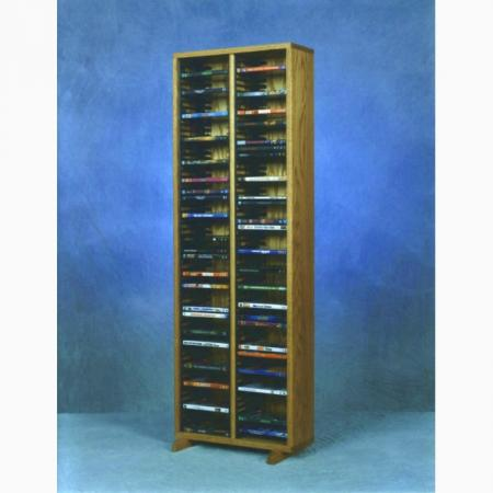 Solid Oak Tower For DVD'S (Individual Locking Slots)