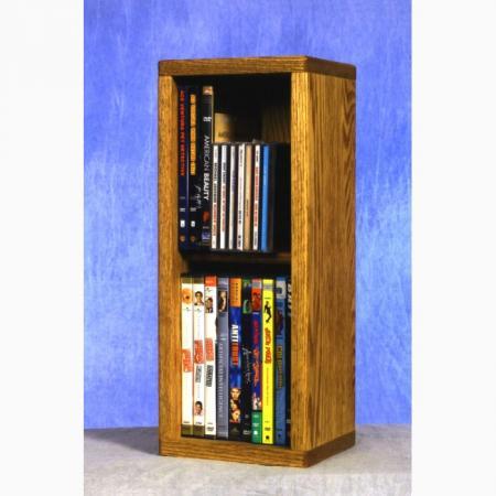 SOLD Solid Oak 2 Row Dowel Cd/DVD Cabinet Tower