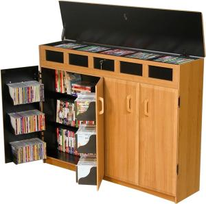 Top Load Media Cabinet oak/black