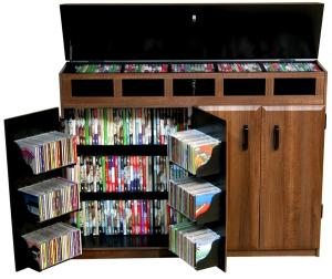 Top Load Media Cabinet walnut/black