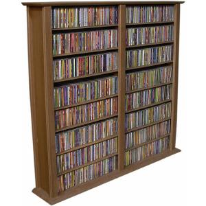Media Storage Tower-Regular Double walnut