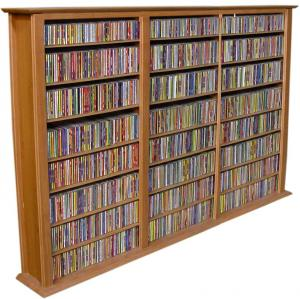 Media Storage Tower-Regular Triple oak