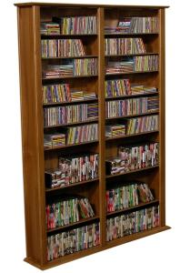 Media Storage Tower-Tall Double walnut