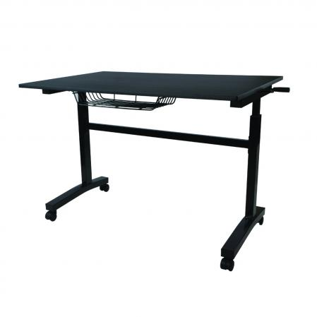 Atlantic Height Adjustable Desk with Casters Black