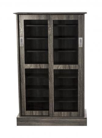 Atlantic Driffield adjustable Shelf Media Cabinet 216 Charcoal Gray