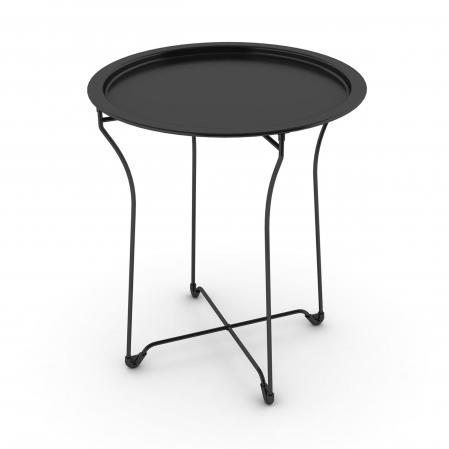 Atlantic Metal Round Collapsible, Powder Coated Tray Black