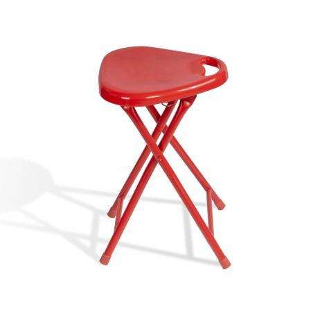 Folding Stool With Handle In True Red- 4 Pack