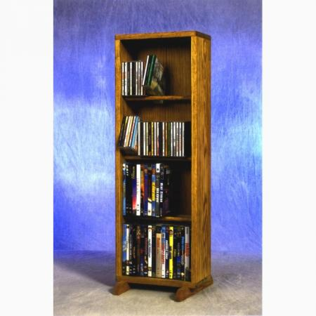 Solid Oak 4 Row Dowel CD/DVD Cabinet Tower