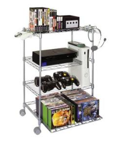 4 Tier Wire Gaming Tower- Gk410, Silver Steel Wire