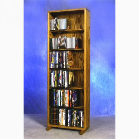 Solid Oak 6 Row Dowel CD/DVD Cabinet Tower