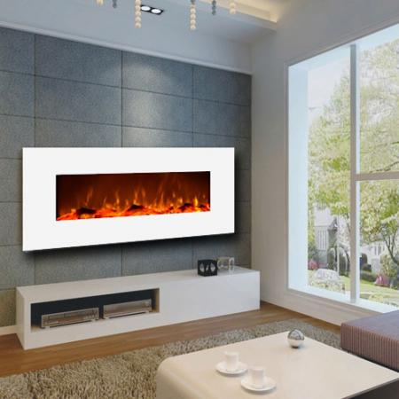 Ivory White Wall-Mounted Fireplace