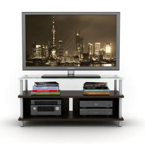 Myst 2 In 1 TV Stand In Espresso With Frosted Glass Top