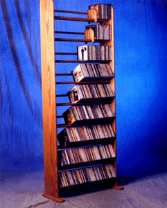 Solid Oak 9 Row Dowel CD Rack