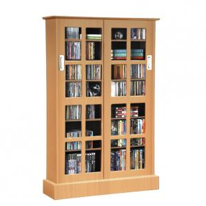 Windowpane Media Storage Rack In Maple