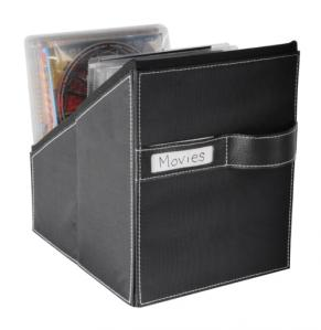 Media Living Movie Bin With 36 Sleeves Leather Look