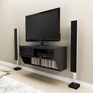 Black 42 Wide Wall Mounted AV Console