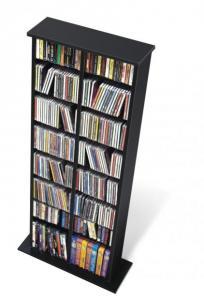 Black Double Multimedia Storage Tower