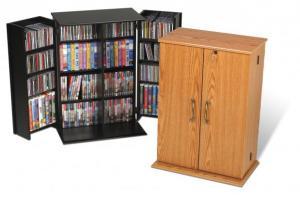Black Locking Media Storage Cabinet