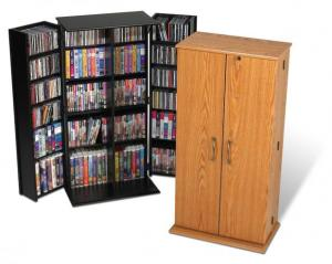 SOLD Tall Locking Media Storage Cabinet, Black