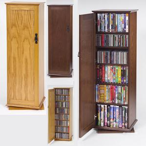 500 Cd Capacity 2-Door Spinning Tower, Hardwood Veneer
