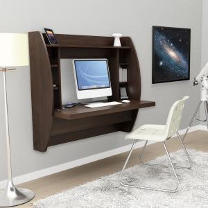 Espresso Floating Desk with Storage