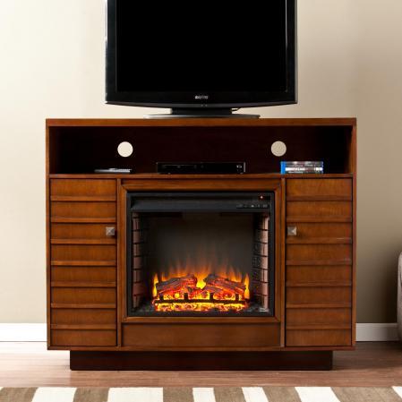 Lancaster Media Electric Fireplace - Dark Tobacco/Espresso