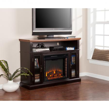 SOLD Oxford Media Electric Fireplace - Ebony Stain/Dark Tobacco